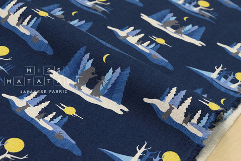 Kokka Mina Chape - Story of a Forest - navy blue - fat quarter