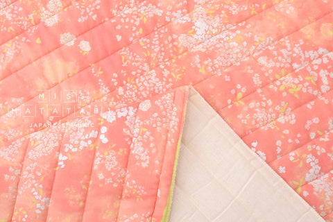 Nani Iro Kokka Japanese Fabric Lei nani quilted double gauze - For beautiful corolla - birds humming