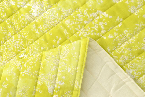 Nani Iro Kokka Japanese Fabric Lei nani quilted double gauze - For beautiful corolla - tender green yellow