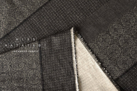 Japanese Fabric - yarn dyed woven border jacquard - black, latte