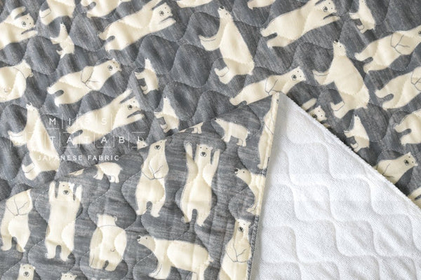 Quilted double gauze - polar bears - grey