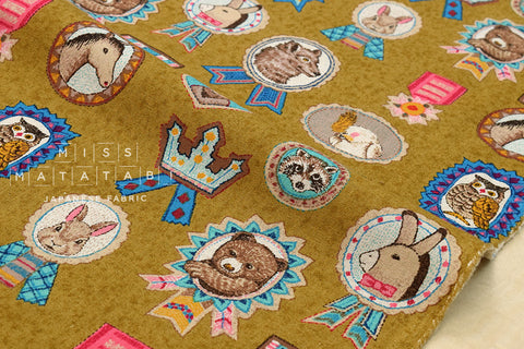 Animal Medals canvas - mustard