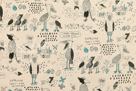 Kei Fabric Miyako Shoebill bird - natural, teal, grey
