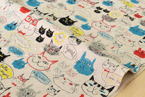 Kei Fabric miyako cats II - red, blue, black, grey, yellow - fat quarter