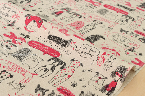 Kei Fabric miyako pups - pink, black, natura - fat quarter