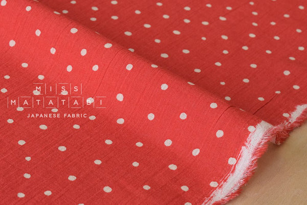 Cotton Voile - starry dots - bright red