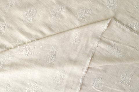 Kokka embroidered double gauze - cream, white