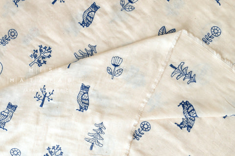 Kokka embroidered double gauze - cream, blue