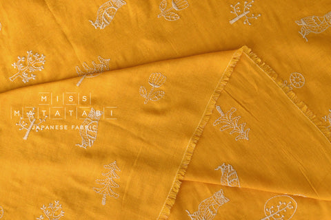Kokka embroidered double gauze - mustard yellow
