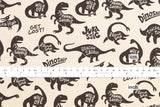 Kokka Trefle Monodeco dinosaurs - chocolate - fat quarter