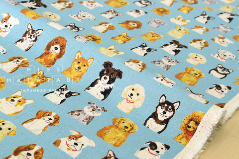 Kokka Animal World - dogs - blue - fat quarter