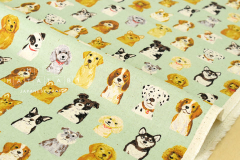 Kokka Animal World - dogs - green - fat quarter