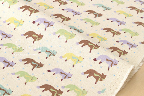 Kokka Animal World - chilly fox - natural, green - fat quarter