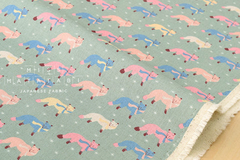 Kokka Animal World - chilly fox - green - fat quarter