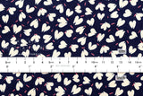 Kei Fabric petit joli heart petals - navy blue, cream, pink - fat quarter