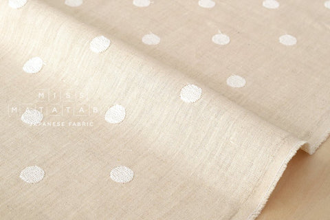 Embroidered Dots linen - cream, natural
