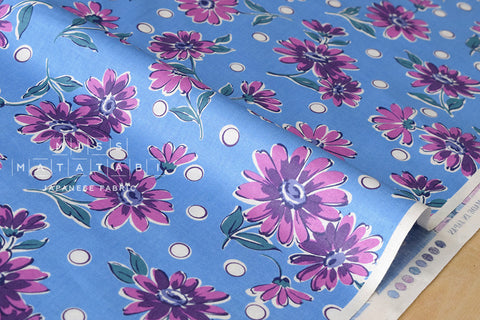 Suzuko Koseki Paris Daisy - blue, lilac - fat quarter