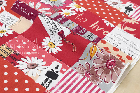 Yuwa Suzuko Koseki Marguerite Collection - red - fat quarter