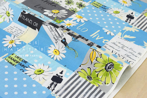 Yuwa Suzuko Koseki Marguerite Collection - blue - fat quarter