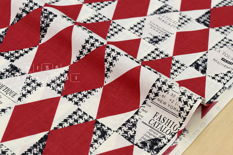 Yuwa Suzuko Koseki Diamond Pattern - red, black, cream - fat quarter