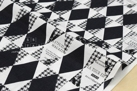 Yuwa Suzuko Koseki Diamond Pattern - black, white