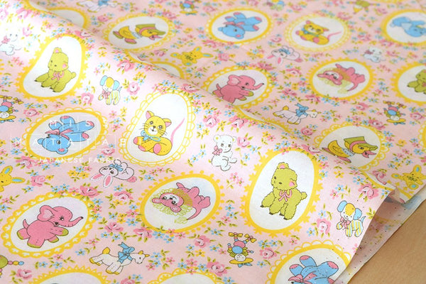 Kei Fabric vintage animals - pink, yellow, blue, green - fat quarter