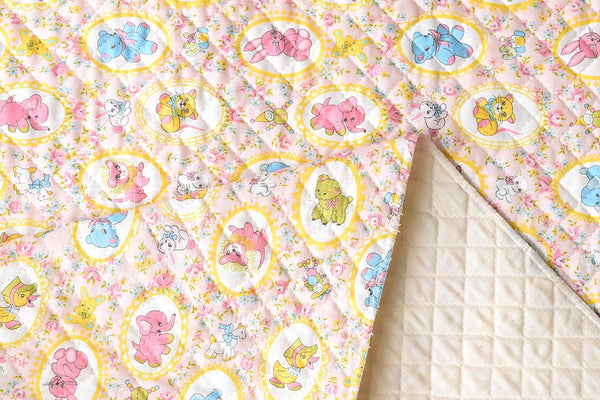 Kei Fabric vintage animals quilted - pink