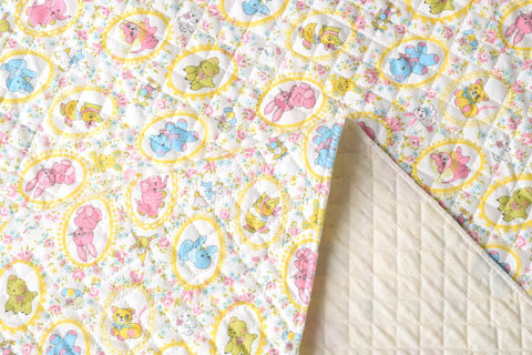 Kei Fabric vintage animals quilted - white