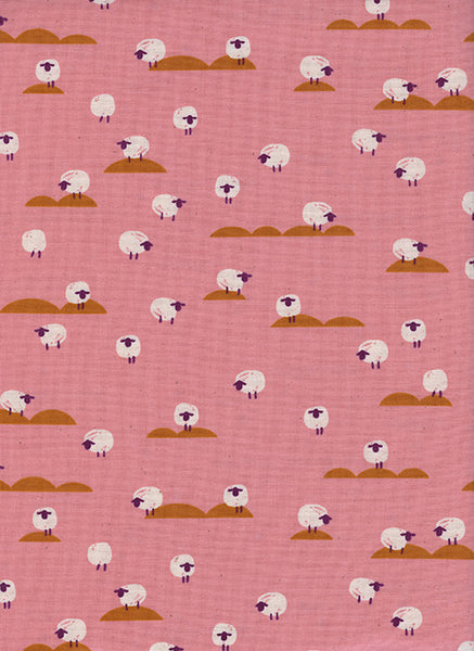 Cotton + Steel Panorama Sunrise - sheep - coral