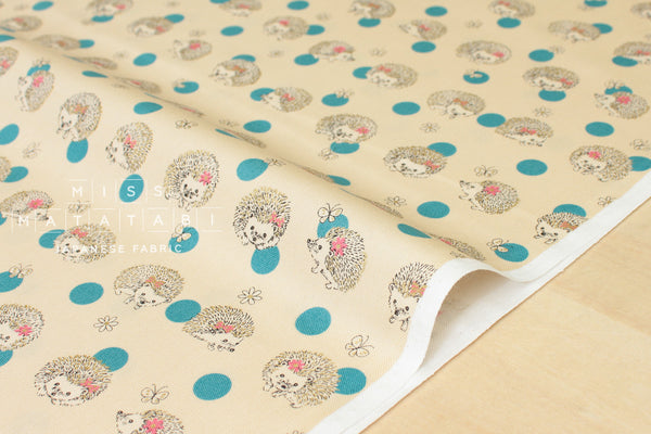 Kokka Kawaii Hedgehogs - blue, metallic gold - fat quarter