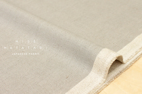 Nani Iro Japanese Fabric Kokka Herringbone - light grey