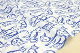 Boy cat - cotton lawn - blue