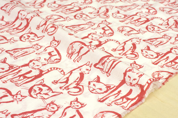 Boy cat - cotton lawn - red