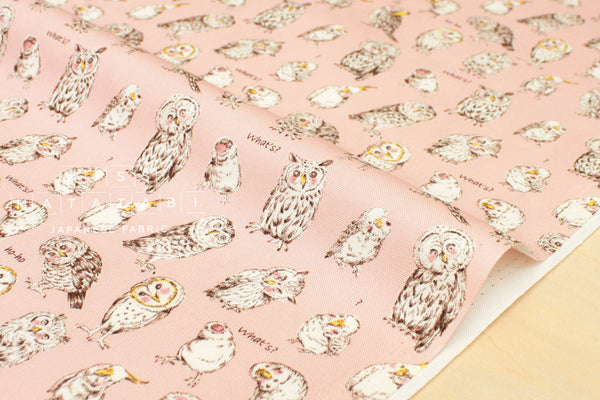 Kokka Owls - pink - fat quarter