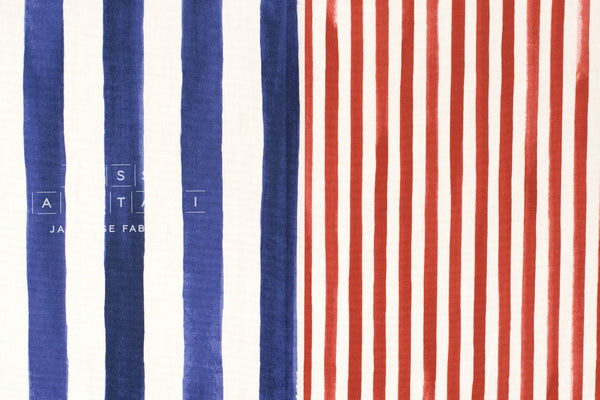 Kokka Pattern and Pattern - stripes - red, blue