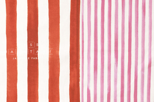 Kokka Pattern and Pattern - stripes - pink, red