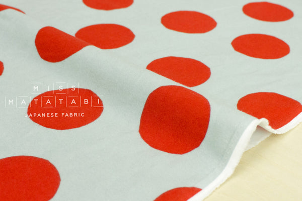 Dots flannel - green grey, red