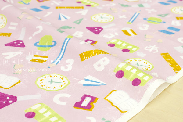 Kokka Trefle School - pink - fat quarter