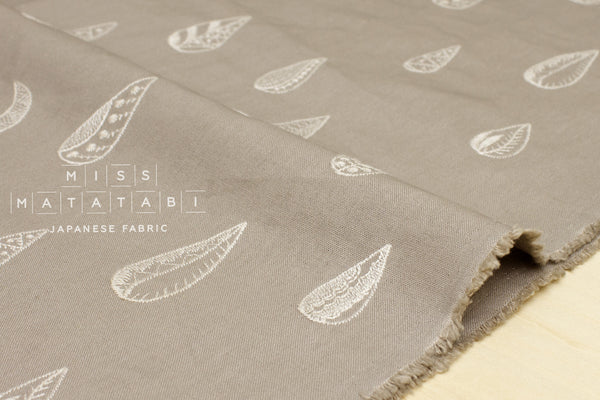 Kokka embroidered canvas - crescent moon - grey taupe
