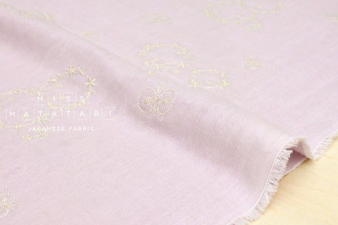 Kokka embroidered double gauze - butterfly - lavender