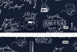 Kokka Chalk Board Cafe Drinks - navy blue