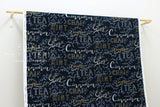 Kokka Chalk Board Cafe Tea - indigo blue, metallic gold