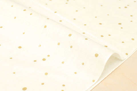Kobayashi metallic drops double gauze - cream, gold