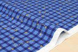 Kokka Zodiac Gingham - blue, metallic gold