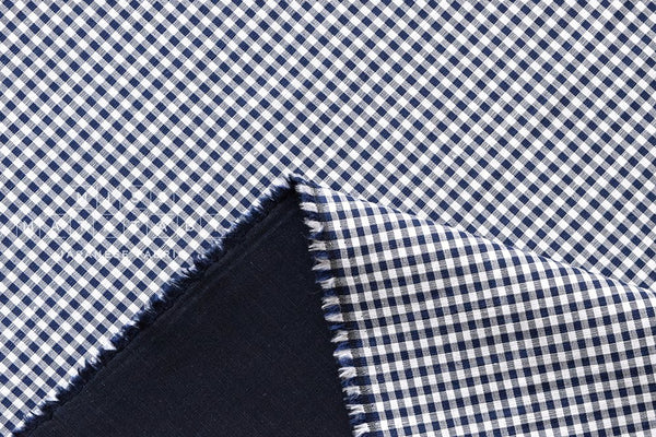 Yarn dyed double faced gingham - navy blue