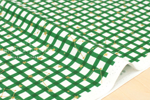 Kokka Zodiac Gingham - green, metallic gold