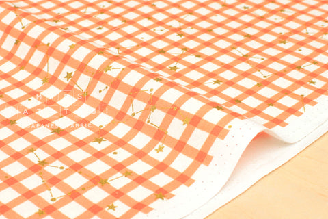 Kokka Zodiac Gingham - orange, metallic gold