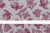 Reversible double knit - woodblock birds - wine, grey