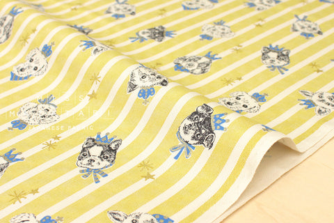 Kokka Royal Pups - yellow, metallic gold - fat quarter