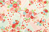 Japanese Fabric Retro Wagara - mint, pink